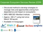 corporate ecosystem services review esr