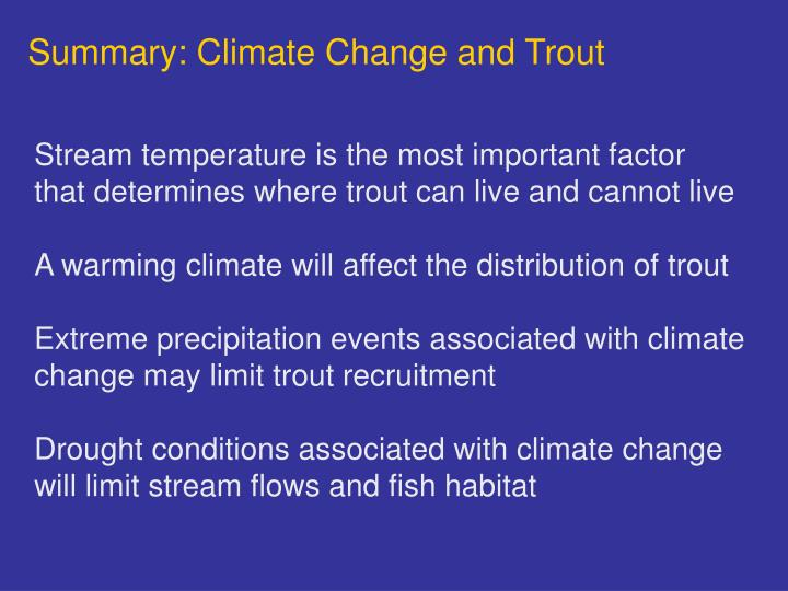Summary: Climate Change and Trout