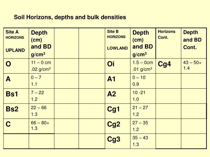 Soil Horizons, depths and bulk densities