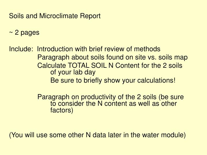 Soils and Microclimate Report