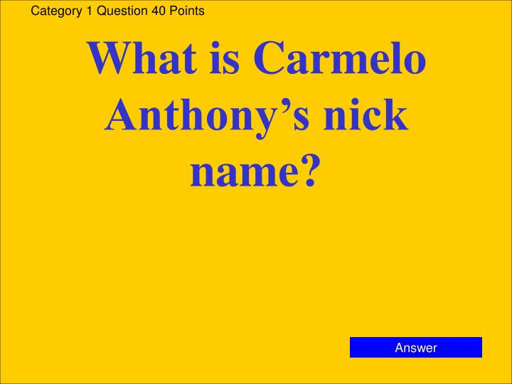 Category 1 Question 40 Points