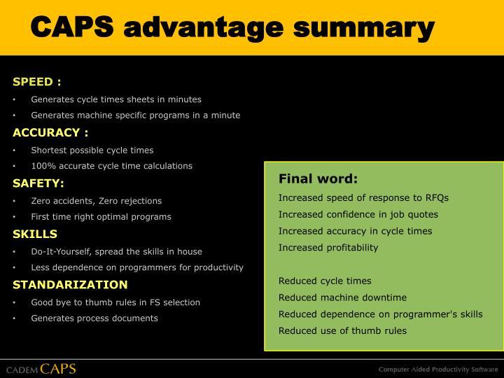 CAPS advantage summary