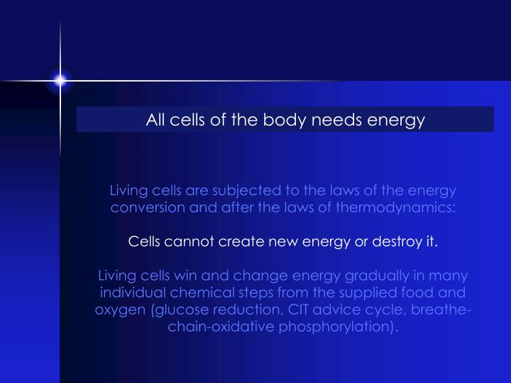 All cells of the body needs energy