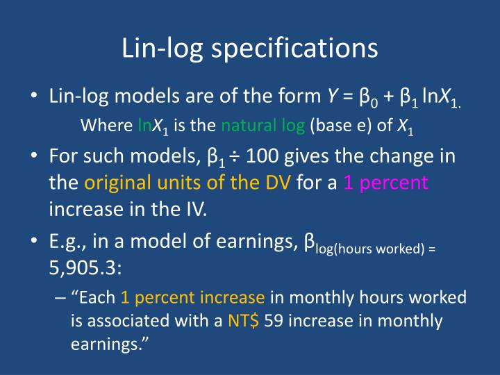 Lin-log specifications