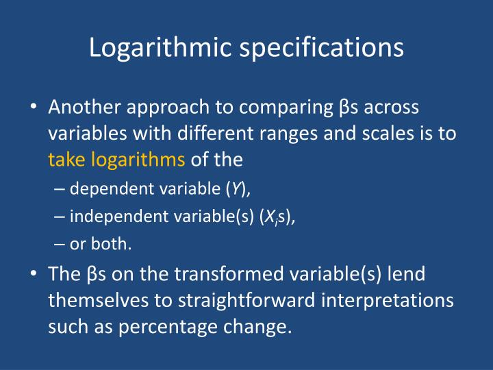 Logarithmic specifications1