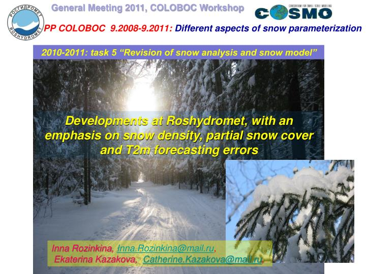 Pp coloboc 9 2008 9 2011 different aspects of snow parameterization