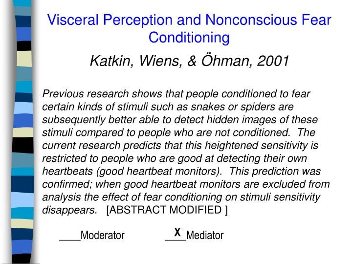Visceral Perception and Nonconscious Fear Conditioning