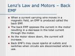 lenz s law and motors back emf