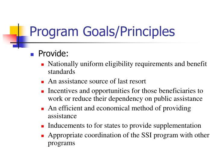 Program Goals/Principles