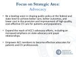 focus on strategic area advocacy