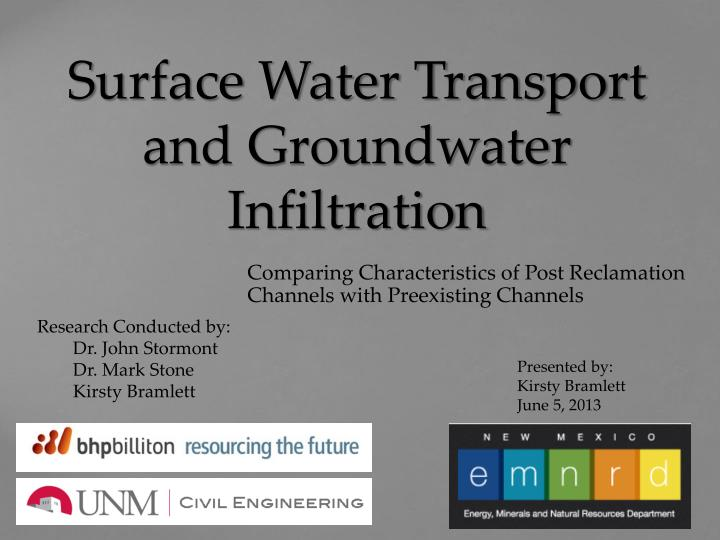 surface water transport and groundwater infiltration n.