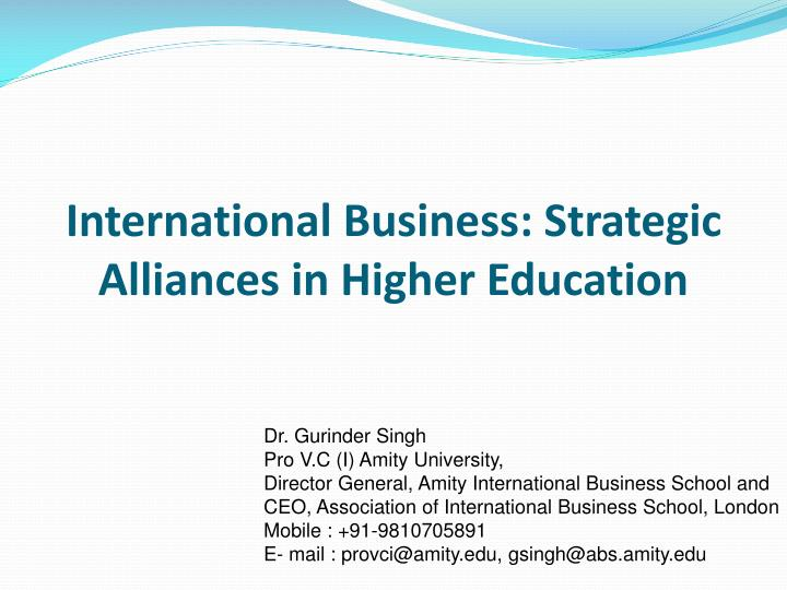 international business strategic alliances in higher education