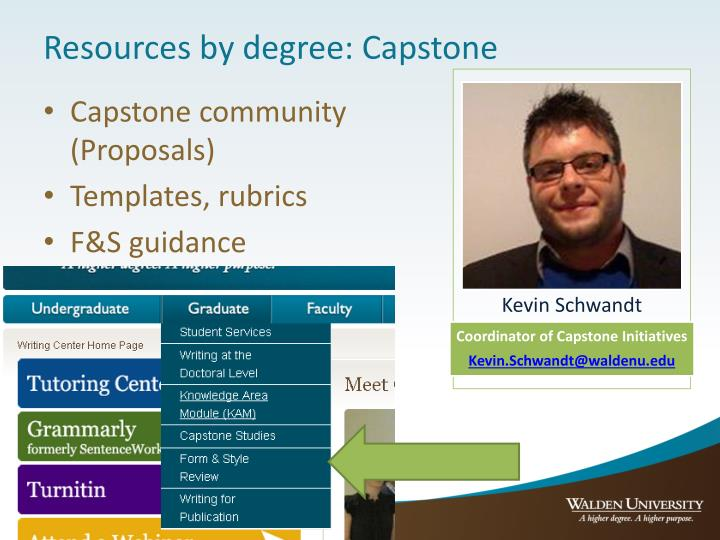 Resources by degree: Capstone
