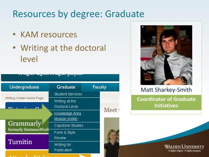 Resources by degree: Graduate