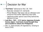 decision for war