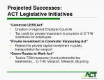 projected successes act legislative initiatives