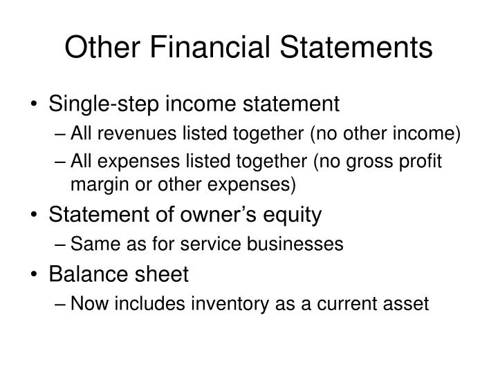 Other Financial Statements