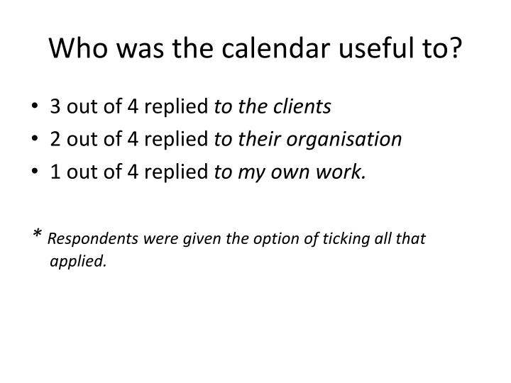 Who was the calendar useful to?