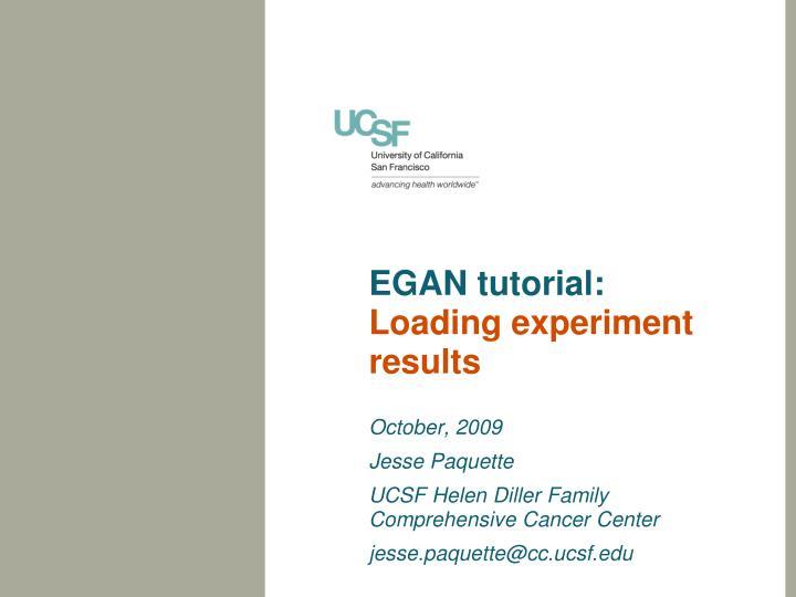 Egan tutorial loading experiment results