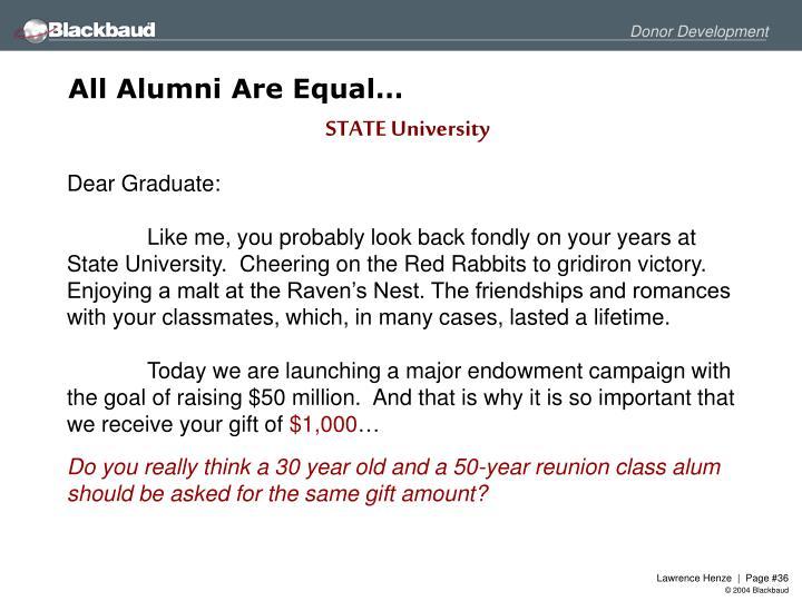 All Alumni Are Equal…