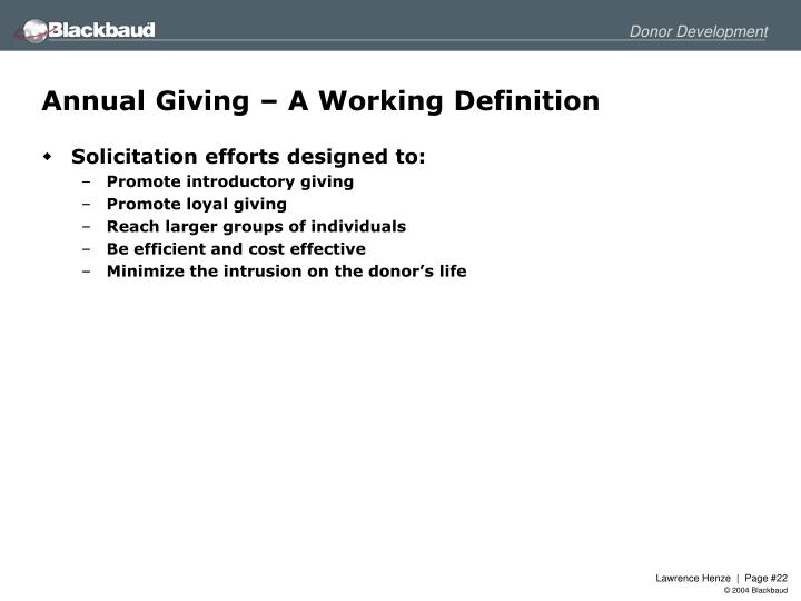 Annual Giving – A Working Definition