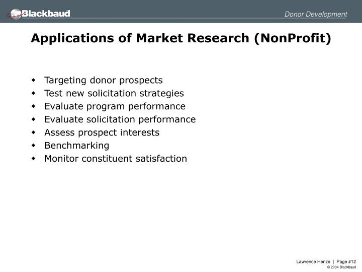 Applications of Market Research (NonProfit)