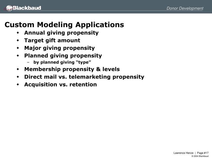 Custom Modeling Applications