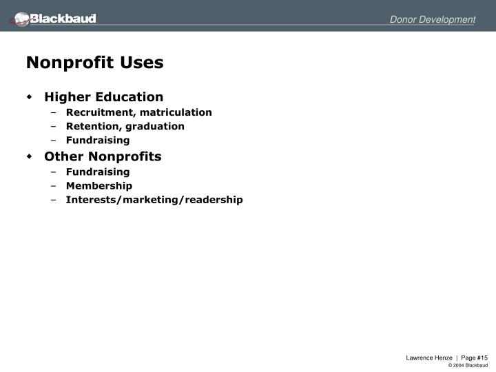 Nonprofit Uses