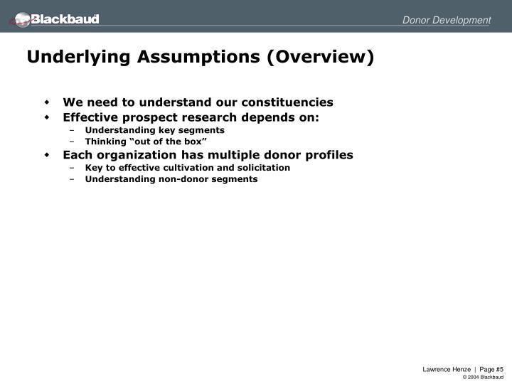 Underlying Assumptions (Overview)