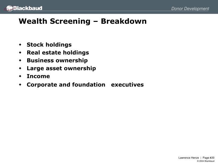 Wealth Screening – Breakdown