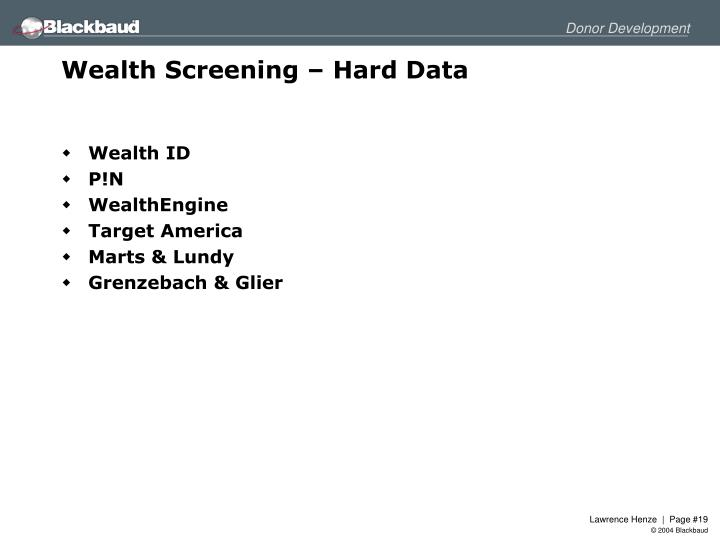 Wealth Screening – Hard Data