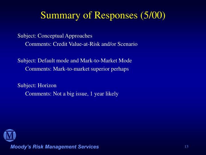 Summary of Responses (5/00)