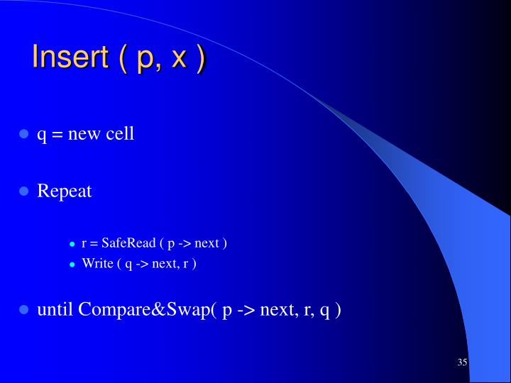 Insert ( p, x )
