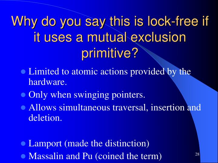 Why do you say this is lock-free if it uses a mutual exclusion primitive?