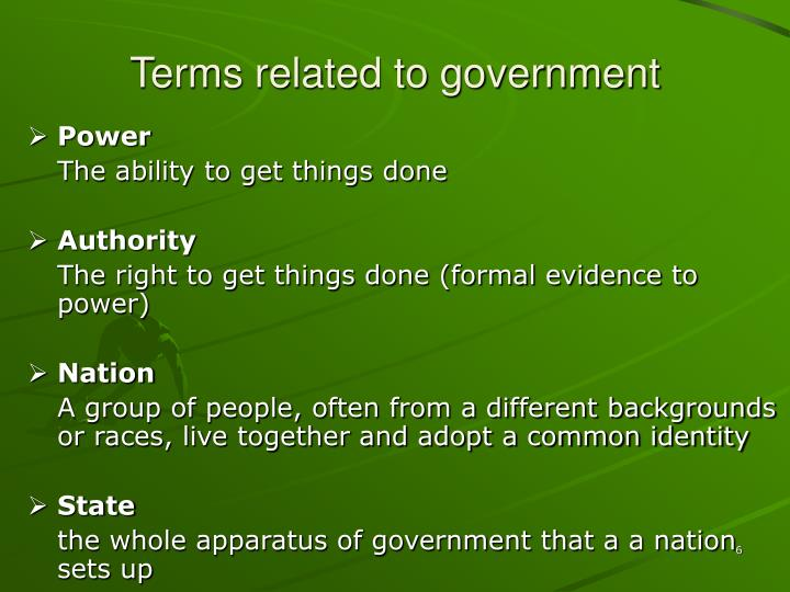 Terms related to government