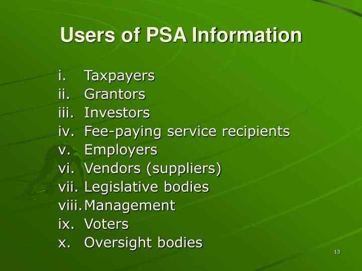 Users of PSA Information