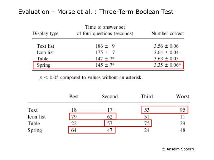 Evaluation – Morse et al. : Three-Term Boolean Test