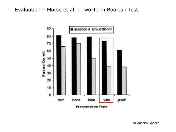 Evaluation – Morse et al. : Two-Term Boolean Test