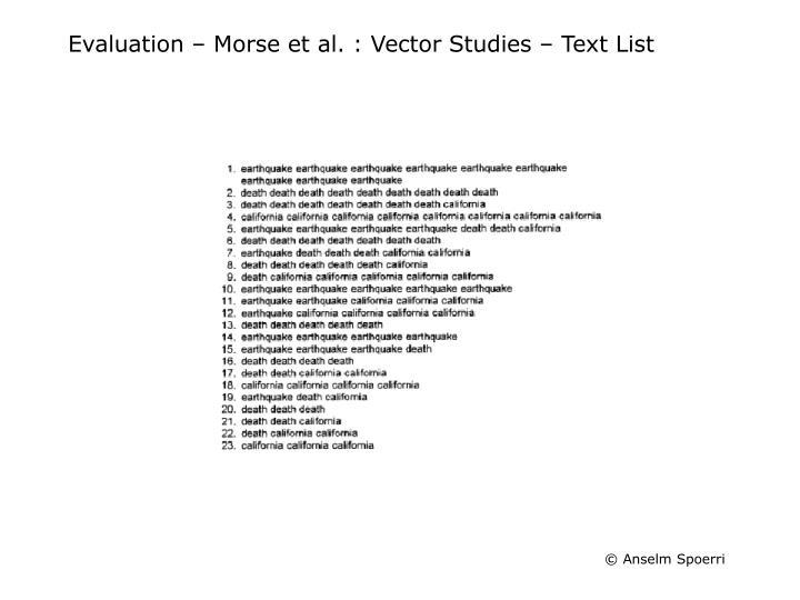 Evaluation – Morse et al. : Vector Studies – Text List