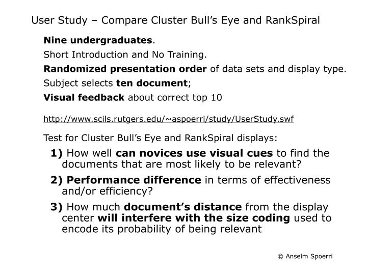 User Study – Compare Cluster Bull's Eye and RankSpiral