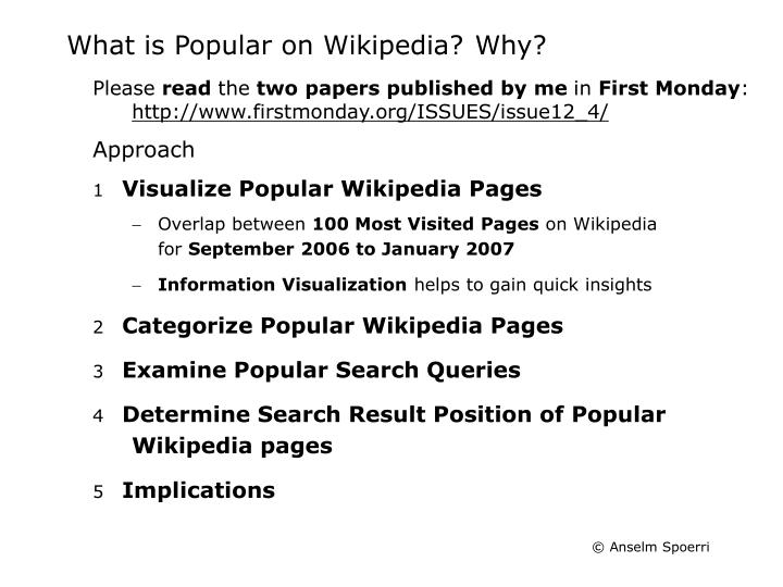 What is Popular on Wikipedia?