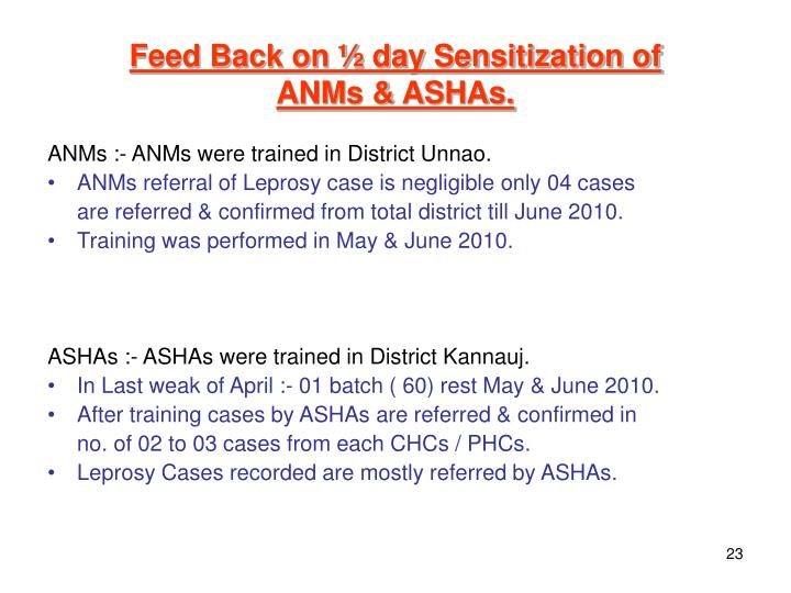 Feed Back on ½ day Sensitization of
