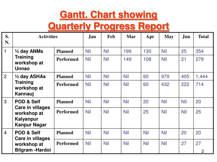 Gantt chart showing quarterly progress report
