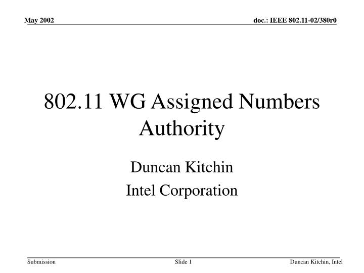 802 11 wg assigned numbers authority n.