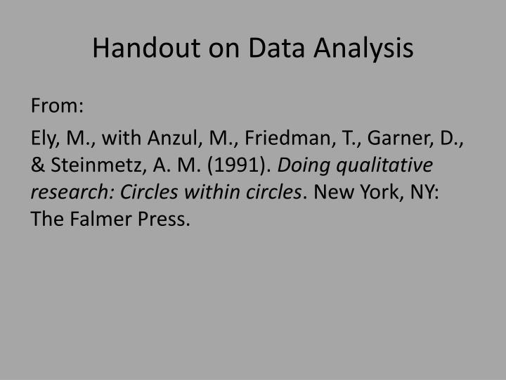 Handout on Data Analysis