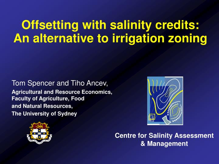 Offsetting with salinity credits an alternative to irrigation zoning