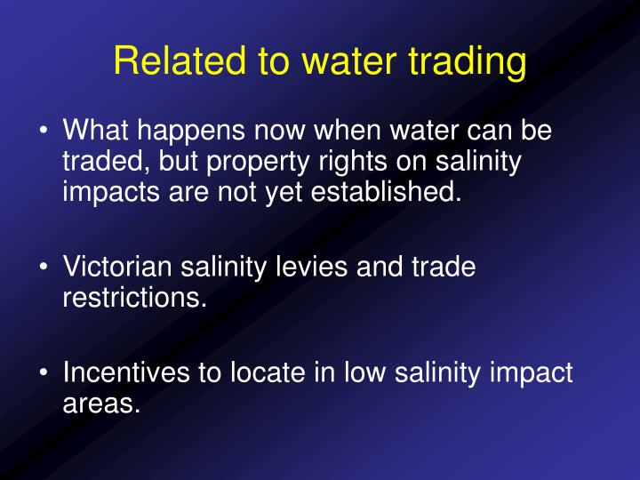 Related to water trading