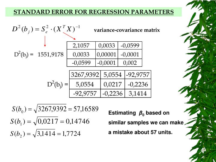 STANDARD ERROR FOR REGRESSION PARAMETERS