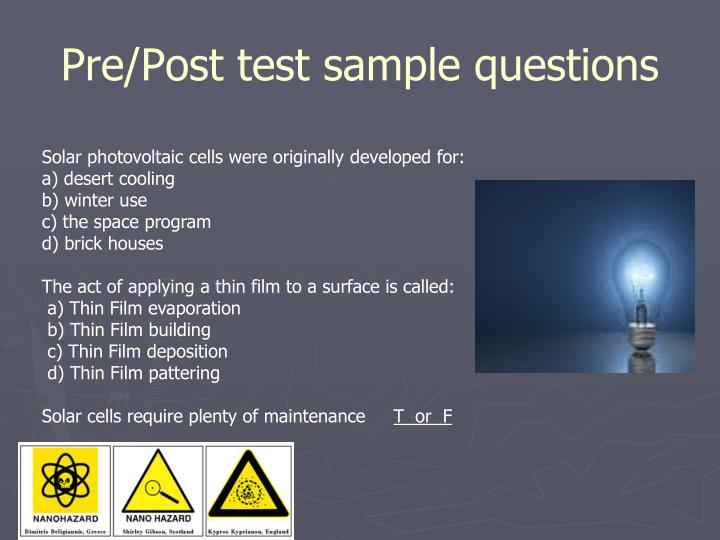 Pre/Post test sample questions