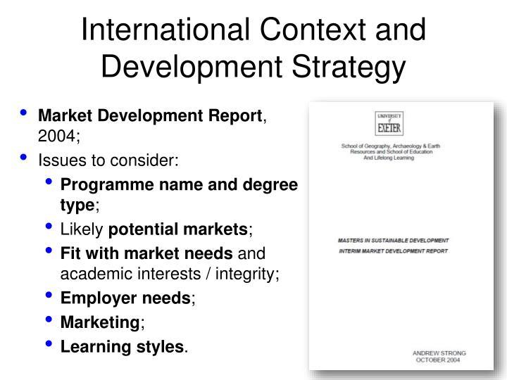 International Context and Development Strategy